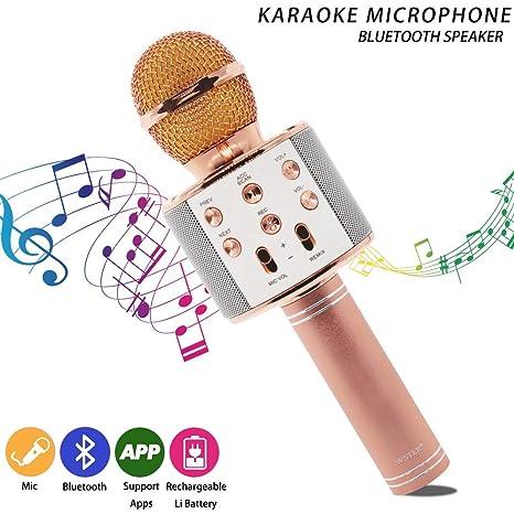 Micrófono Inalámbrico Karaoke Portátil Bluetooth, Smarwear Reproductor Grabadora de Karaoke Wireless con Altavoz para Teléfono