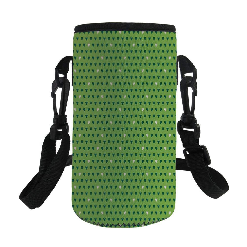 Small Water Bottle Sleeve Neoprene Bottle Cover,Green,Cute Small Heart Shapes Vibrant Color Celebratory Fun Pattern Design,Lime Green Dark Green White,Great for Stainless Steel and Plastic/Glass Bottl