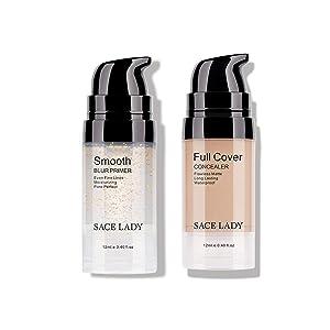 Face Makeup Primer & Full Coverage Eye Concealer Make Up Set Smooth Long Lasting Matte Poreless Waterproof Cosmetic Kit 12ml