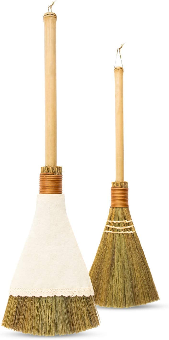 Natural Whisk Sweeping Hand Handle Broom - Vietnamese Straw Soft Broom for Cleaning Dustpan Indoor - Outdoor - Decoration Idea - 7.08'' Width, 22.04