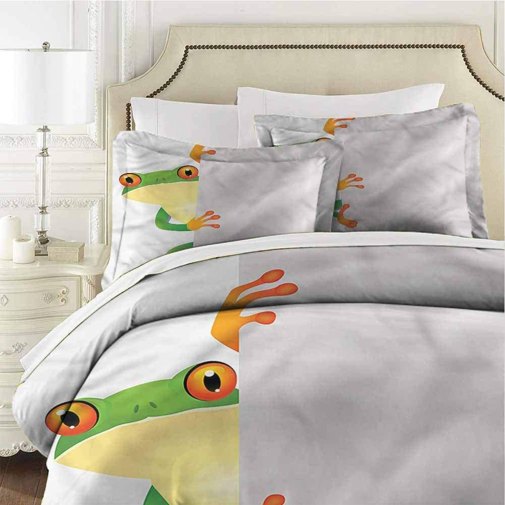Reptile Bedding Set Full Frog Prince Reptiles Full (80x90 inches) - 3 Pieces (1 Duvet Cover + 2 Pillow Shams) - Ultra Soft and Breathable Comforter Cover