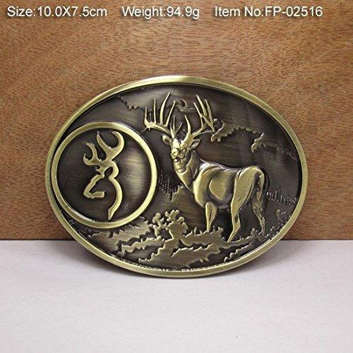 XJG Bronze Deer Cowgirls CowboysMetal Belt Buckle Texas Fashion Mens Western Badge Feathers Native