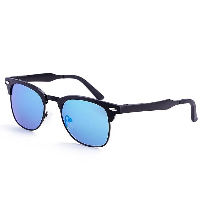 c68a13fe21 Dollger Classic Clubmaster Polarized Sunglasses Horn Rimmed Half Frame(Blue  Mirror Lens+Black Frame