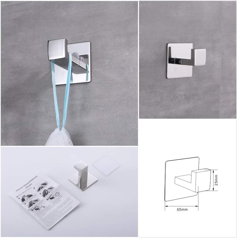 DOCNACHT No Drilling Self Adhesive SUS 304 Stainless Steel 4-Piece Bathroom Accessory Set Including Towel Bar Towel Holder Robe Hook Toilet Paper Holder , Brushed Nickel,No Screws