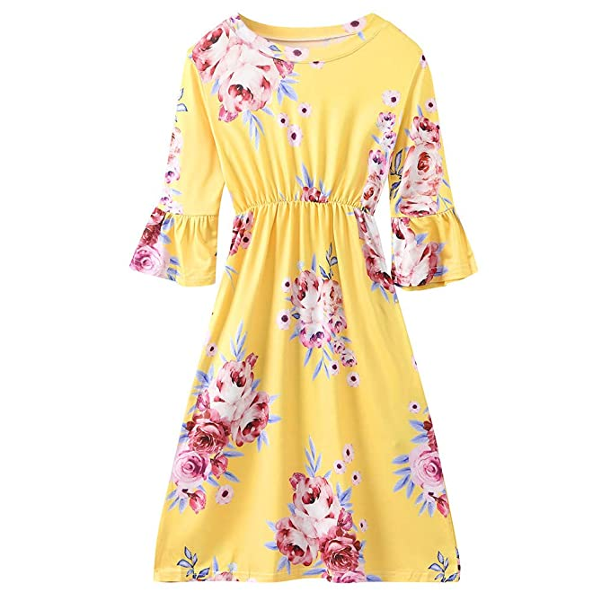Lavany Little Girls Maxi Dress with Pocket Pleated Long Beach Dress for 2-9 Year