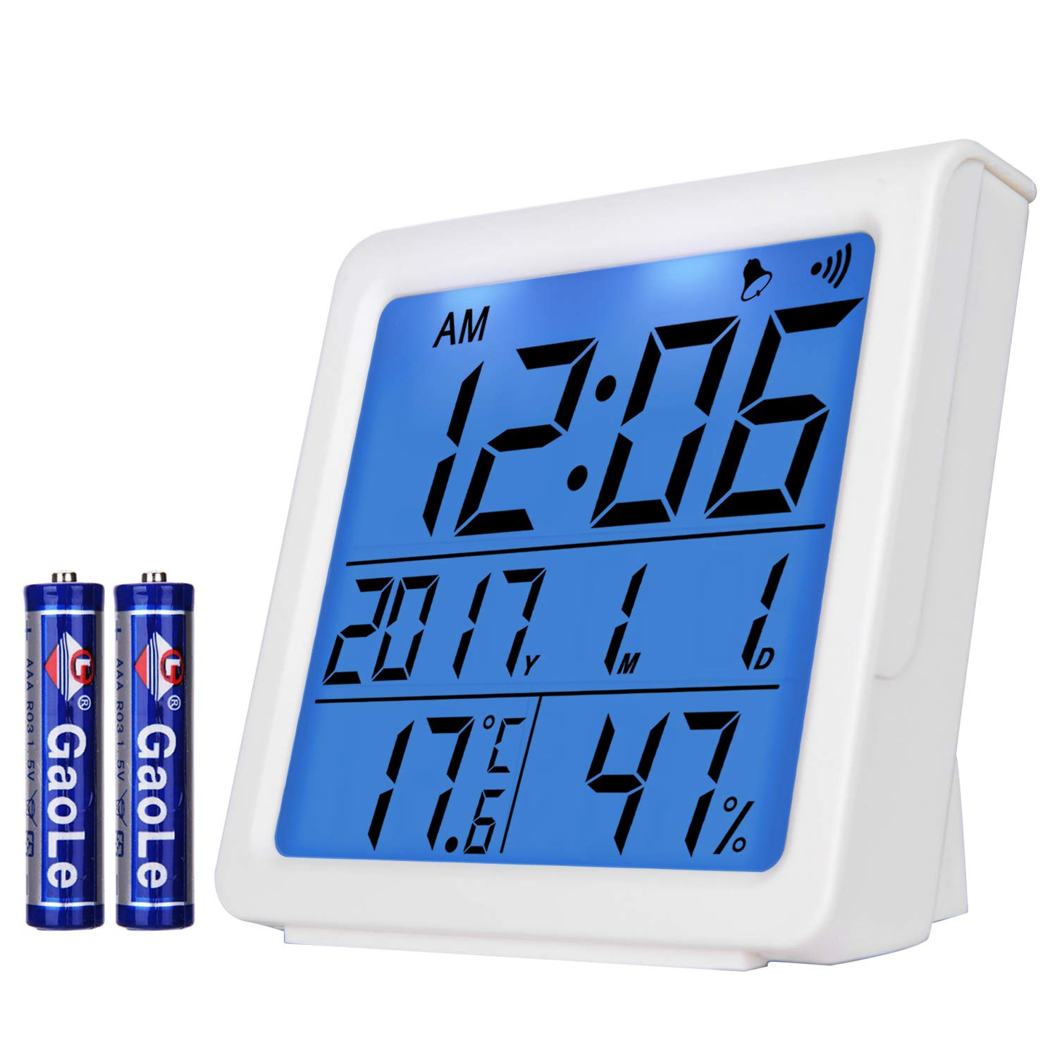 Yesurprise Digital Hygrometer Indoor Thermometer Humidity Meter Monitor Temperature Gauge Alarm Clock Smart Timer with Touchscreen, Backlight and Table Standing Battery Included - White