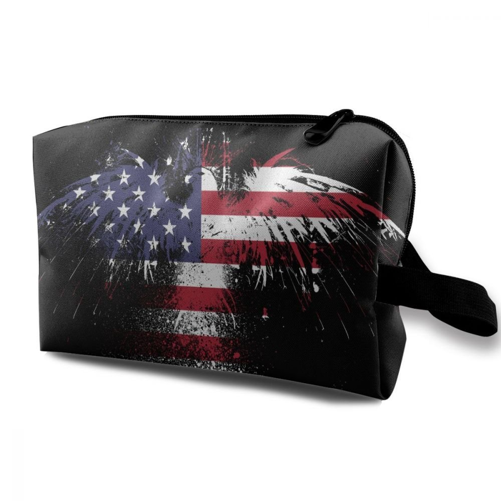 ZHIYANG Flag Of America Eagle Elegant Potable Cosmetic Bags With Zipper For Travel Home Jewelry Pouch Storage Bags Makeup Bags
