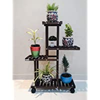 The Edge Interior Studio Decorative Solid Wood Multi-Layer Wooden Plant Stand for Home & Garden, Indoor & Outdoor Plant Stand - Brown 6 to 7 Pots Capacity(38 X 29 X 8 inch) (Walnut)
