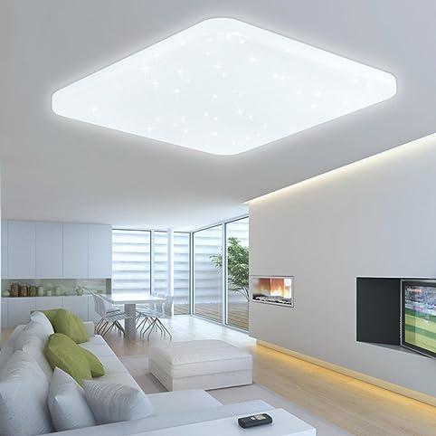 HG® 60W LED Deckenleuchte Deckenbeleuchtung Weiß Wandlampe Eckig  Deckenlampe Esszimmer Wohnraum Badlampe Sternenhimmel Panel Sternen