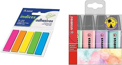 Dohe 75020 - Tacos de índices adhesivos, 12 x 45 mm, 5 blocks x 25 notas + STABILO BOSS Original PASTEL - Marcador - Estuche 4 colores: Amazon.es: Oficina y papelería