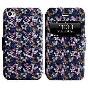 LEOCASE mariposa surtidos Funda Carcasa Cuero Tapa Case Para Apple iPhone 4 / 4S No.1003568