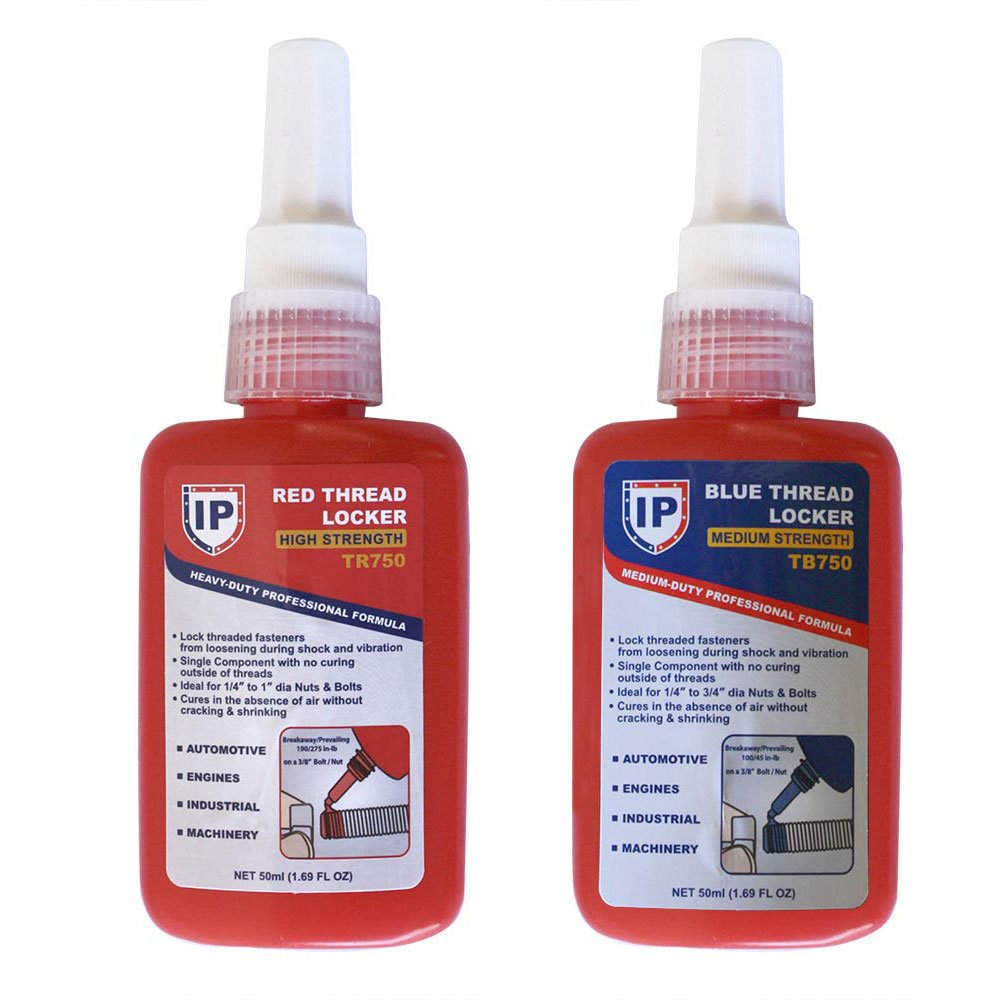 Interstate Pneumatics TRB750K 2 in 1 Thread Locker Kit includes High/Medium Strength 50ml each bottle