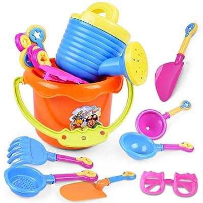 ckinKSurs621 for Children Kids Toys 9Pcs Toddler Kids Children Outdoor Sand Beach Bucket Shovel Rake Water Toys Set - Random Color: Toys & Games