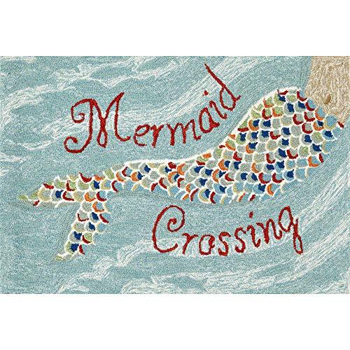 (Liora Manne FTP34144803 Front Porch Coastal Indoor/Outdoor Mermaid Crossing Water Rug (2'6