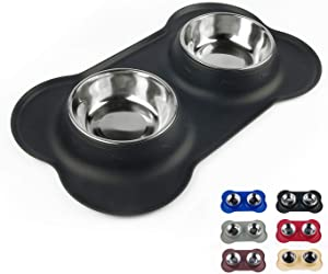 Dog Bowls with Anti-Overflow and Anti-Skid Silicone Dog Food Mat, Stainless Steel Feeder Easy to Clean for Small Medium Large Dogs Cats Pets
