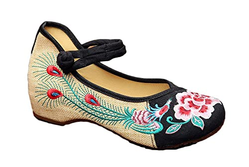 AvaCostume Old Beijing Chinese Phoenix Peony Embroidery Flats Shoes b57d10e15f4d