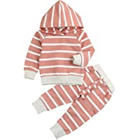 Younger Tree Baby Girl Fall Clothes Long Sleeve Striped Hoodie Sweatshirt Pants Outfit Sets for Newborn Infant Toddler…