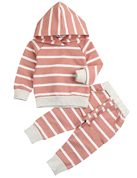 421b2dde93a0c5 Newborn Baby Girl Boy Cotton Winter Clothing Set Long Sleeve Striped Hoodie  Sweatshirt Tops + Pants