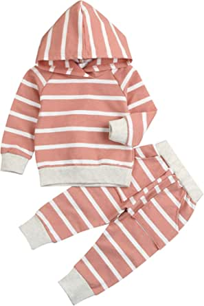 Younger Tree Baby Girl Fall Clothes Long Sleeve Striped Hoodie Sweatshirt Pants Outfit Sets for Newborn Infant Toddler Winter Clothing