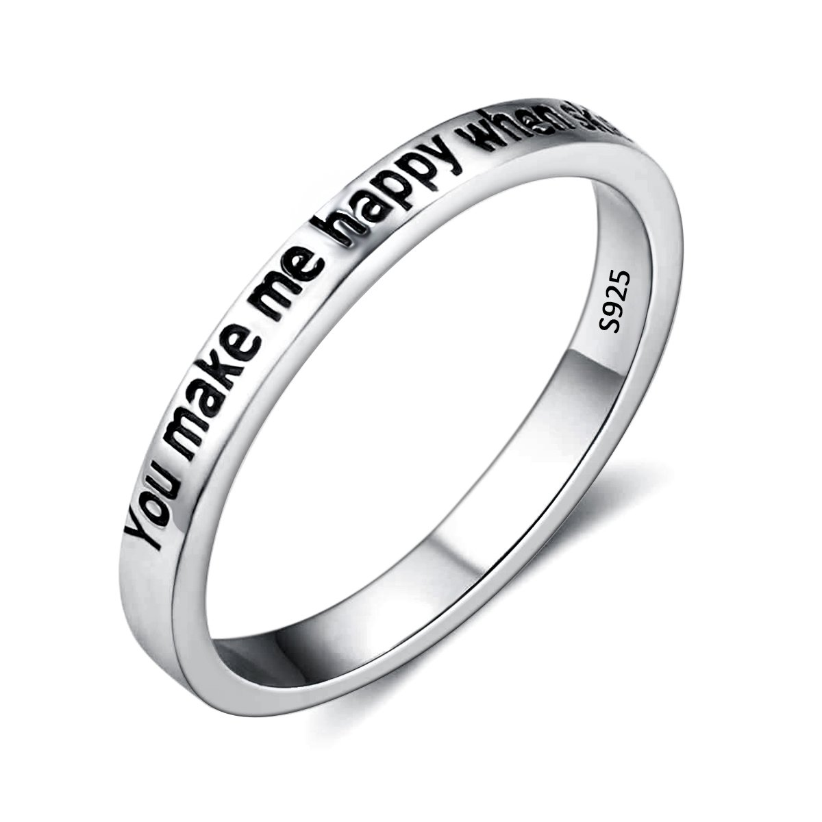 EVER FAITH 925 Sterling Silver ''You Make Me Happy When Skies Are Grey'' Engagement Promise Ring Size 6