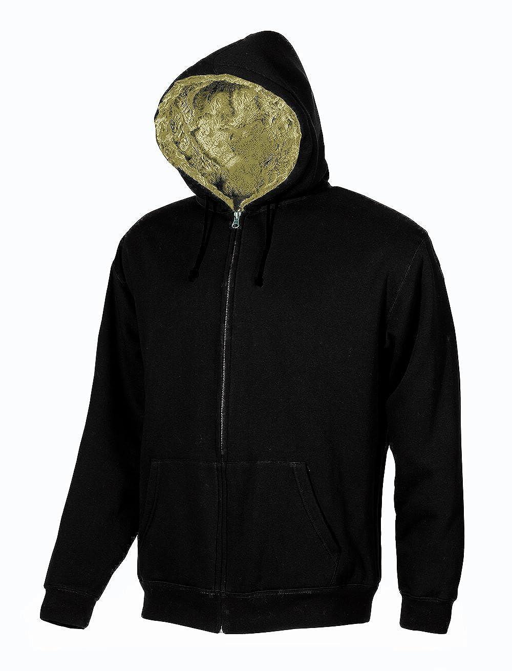 Synthetic Fur Hooded Sweatshirt Brown Full Zip U-Power Fur