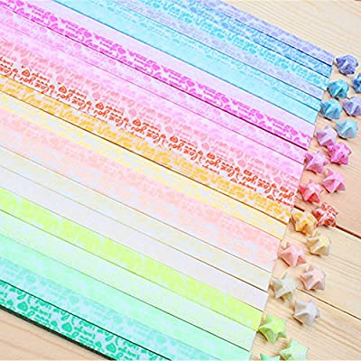"LAYs Glow in Dark Luminous Lucky Star Origami Folding Paper Strips with ""I Love You"" Letters"