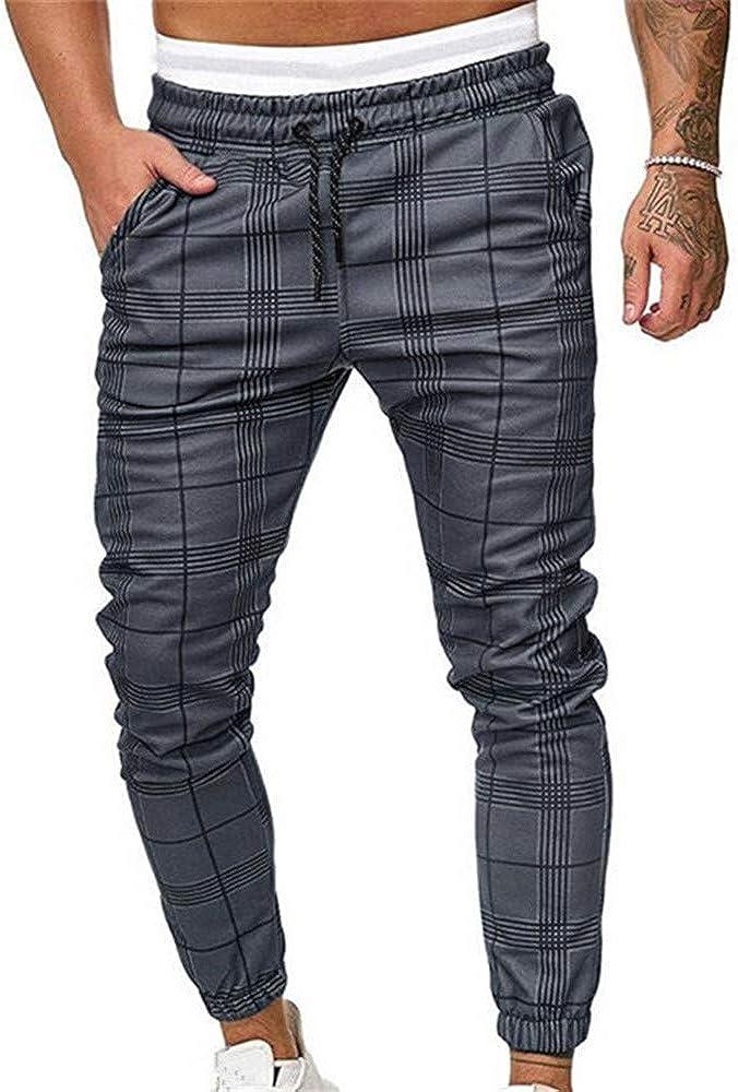 Pantalones Largos Deportivos De Jogging Running para Hombre, Morbuy Casual Tartán Pants Slim Fit Pantalón De Chándal con Bolsillos Cordón de Ajuste Cargo Trouser