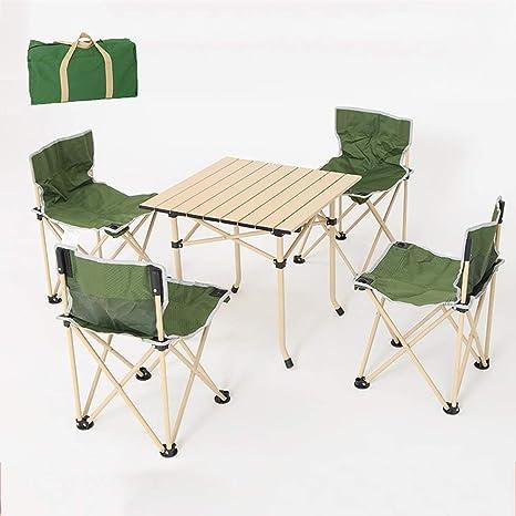 AOLI Mesas y sillas plegables, mesa plegable portátil al ...
