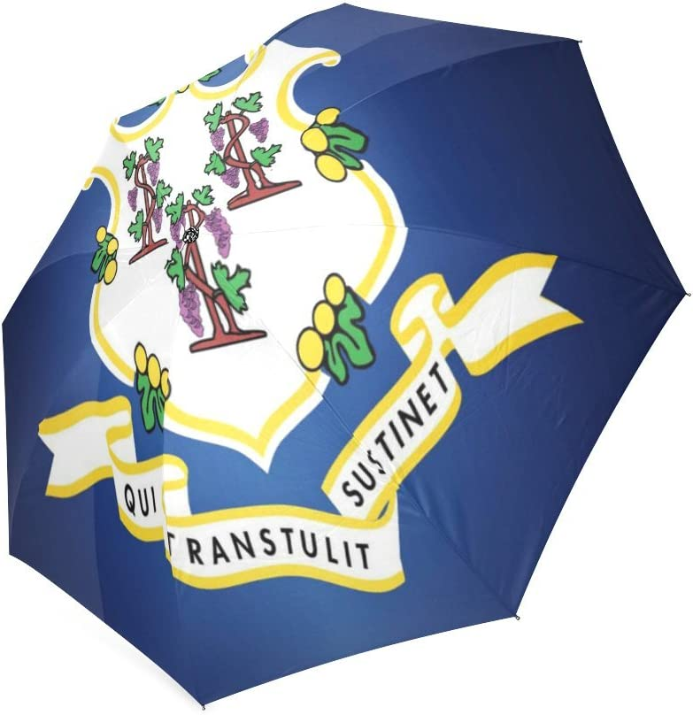 Friends Novelty Birthday Gifts Presents Custom Connecticut State Flag Compact Foldable Rainproof Windproof Travel Umbrella