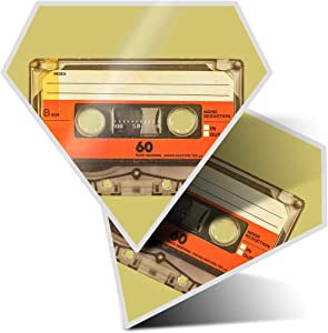 Awesome 2 x Diamond Stickers 7.5 cm - Retro Cassette Tape Music Mix Fun Decals for Laptops,Tablets,Luggage,Scrap Booking,Fridges,Cool Gift #14539