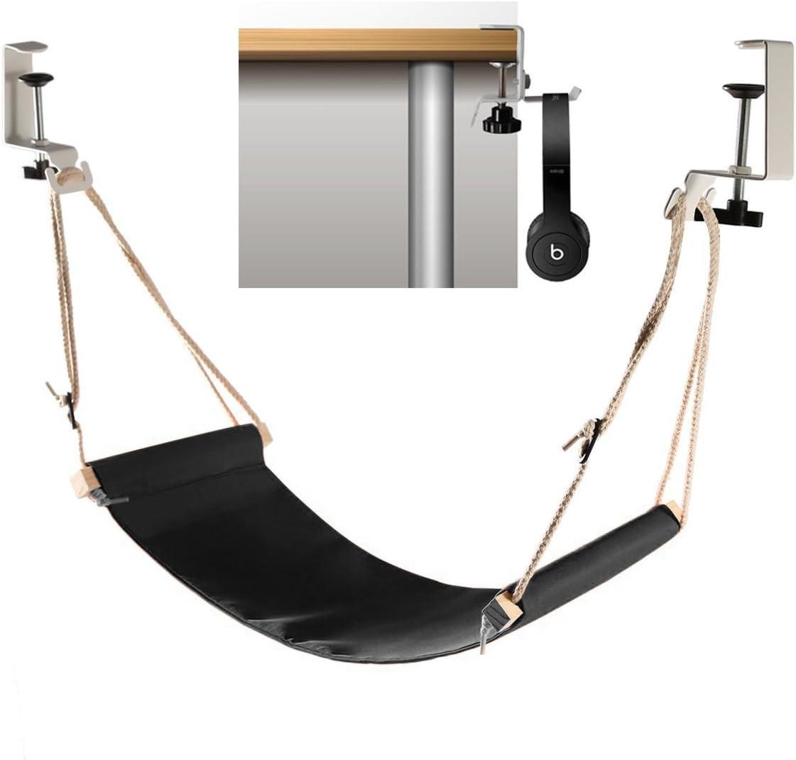 Foot hammock under desk with headphones holder Upgraded adjustable ergonomic office feet rest New Screw in rubber clamps Suitable for all desks Black