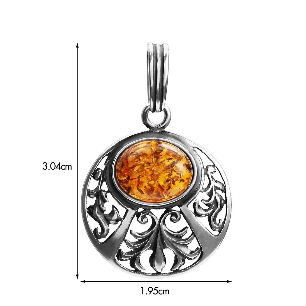 Amber Sterling Silver Round Pendant Ian and Valeri Co