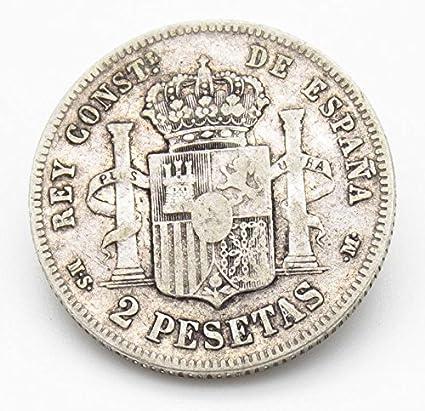 Desconocido Moneda de 2 Pesetas de Plata del Año 1882 Durante La ...