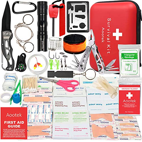 Aootek Upgraded first aid survival Kit.Emergency Kit earthquake survival kit Trauma Bag for Car Home Work Office Boat Camping Hiking Travel or Adventures (Best Guns To Have For Survival)