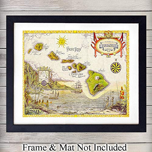 Vintage Map of Hawaii Wall Art Print - Perfect Affordable Gift - Vintage Chic Home Decor - Ready to Frame (8X10) Photo