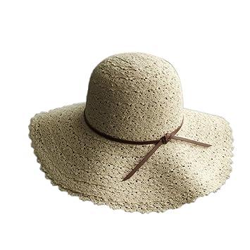 bde08d32cb0d1 CAOLATOR ala Ancha Paja Sombreros para el Sol del Verano Mujeres Retro  Viajes Sombrero Gorra Visera de Sol Playa de Natación (Beige)  Amazon.es   Jardín