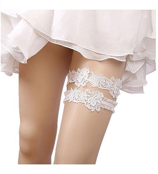 Xugq66 Rhinestones Garter Belt Wedding Lace Garter Set for Bridal and  Bridesmaid (01)