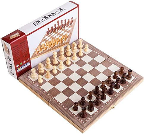 zaote Juego de ajedrez de Madera 3 en 1 Rompecabezas Plegable Juego de Mesa de ajedrez