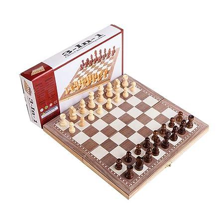 zaote Juego de ajedrez de Madera 3 en 1 Rompecabezas Plegable ...
