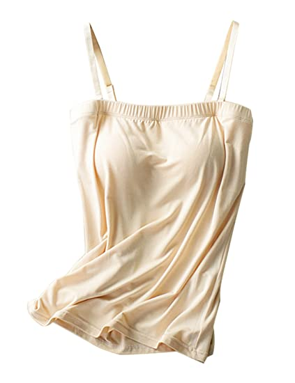 09d069846f070 Alizeal Women Flat Collar Modal Camisole with Built in Shelf Bra for Sports  Yoga-Apricot