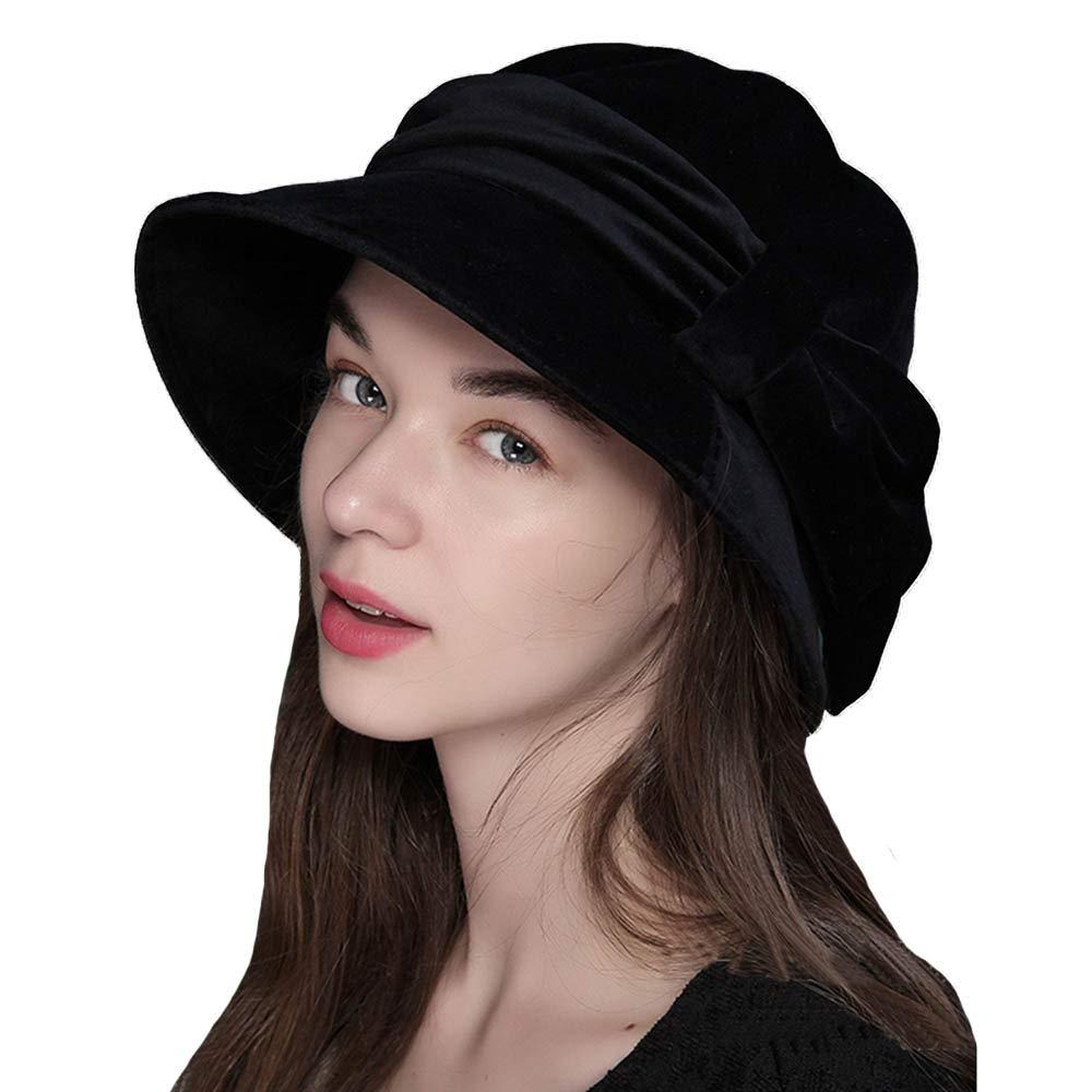 FADVES Womens Velvet Hats Wide Brim Fedora Bowler Cap Cloche Elegant Church Hat Black