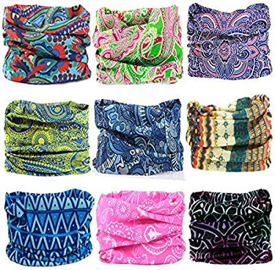 KALILY 9PCS/6PCS Headband Bandana - Versatile 16-in-1 Sports & Casual Headwear -Neck Gaiter, Balaclava, Helmet Liner, Face Mask for ATV/UTV Riding, Seamless Lightweight Headband with UV Protection