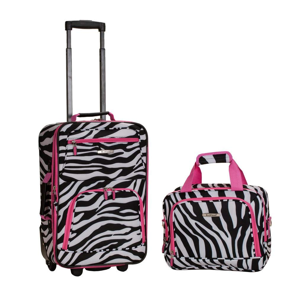 Rockland Printed 2 PC PINK ZEBRA LUGGAGE SET