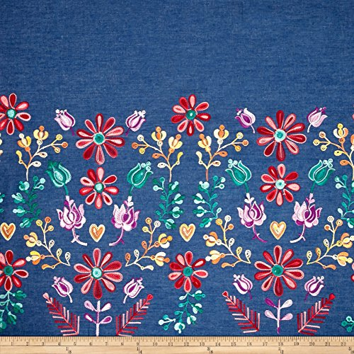 TELIO Denim Embroidered Single Border Floral Yellow/Red/Purple Fabric by The ()