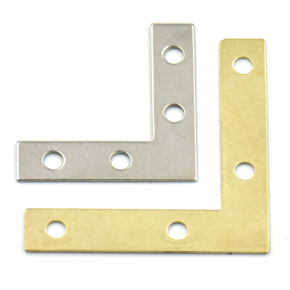 Bluemoona 20 Pcs - Metal L Shape Corner Brace Plate Right Angle Bracket Photos Frame Picture 38mmx38mm Nickel