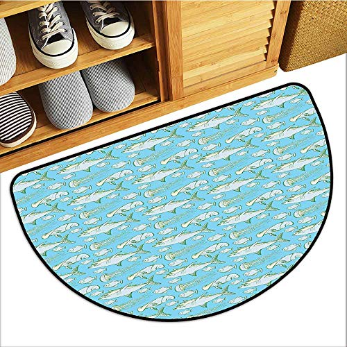 Custom&blanket Magic Doormat, Shark Doormats for High Traffic Areas, Sea Creatures in Vintage Style Swimming Flatfish Stingray and Jellyfish (Pale Blue Grey Green, H20 x D32 Semicircle)