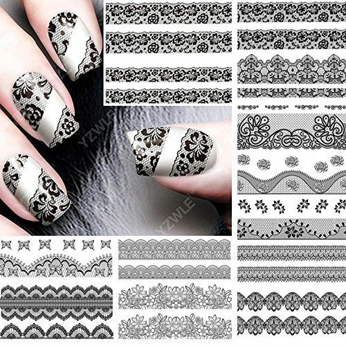 - Black lace lingerie fishnet nail art stickers Iridescent paisley bohemian flower child hippie butterfly nail decals nail vinyls nail tattoo nail wraps water transfer