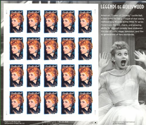 - Lucille Ball: I Love Lucy Legends of Hollywood Stamps Full Sheet of 20 x 34 Cent Stamps Scott 3523