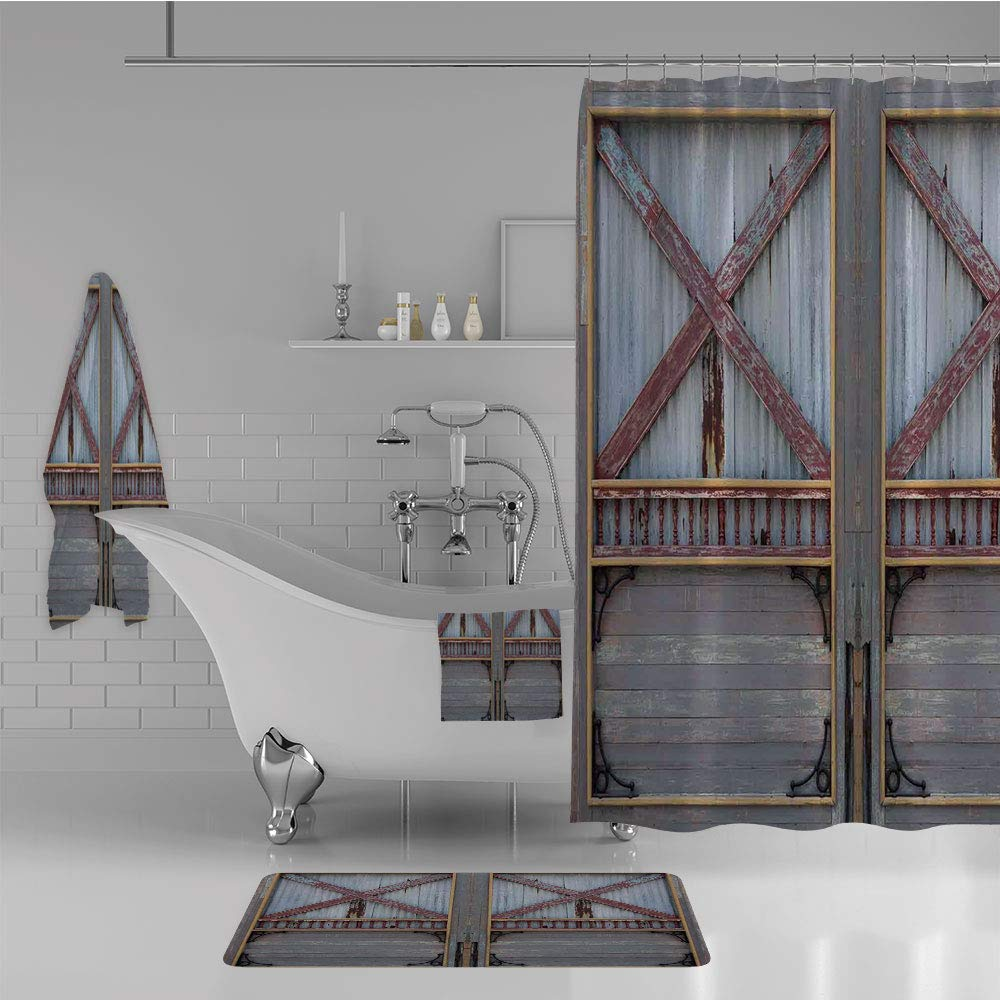 iPrint Bathroom 4 Piece Set Shower Curtain Floor mat Bath Towel 3D Print,Gate Image Street Construction Window Covered,Fashion Personality Customization adds Color to Your Bathroom.