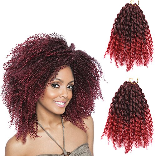 "2 Pack 8 inch 120gram Afro Kinky Curly Mali Bob Crochet Braids Twist Braiding Marley Braid Synthetic Hair Extensions (8""(2pack), t1b/bug)"